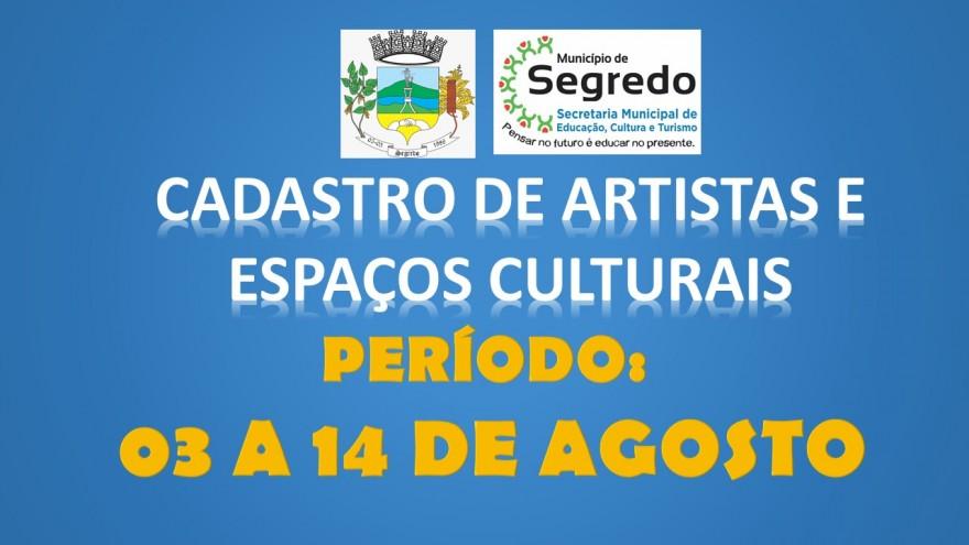 CADASTRO DE ARTISTAS E ESPAÇOS CULTURAIS